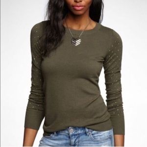 Express Sweater Olive Green Gold Stud Sleeves